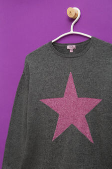 100% cotton oversized pullover with embroidery., Dark Grey, hi-res
