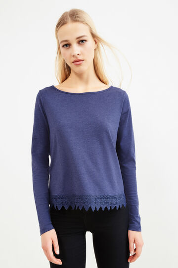 Solid colour viscose T-shirt with lace, Navy Blue, hi-res