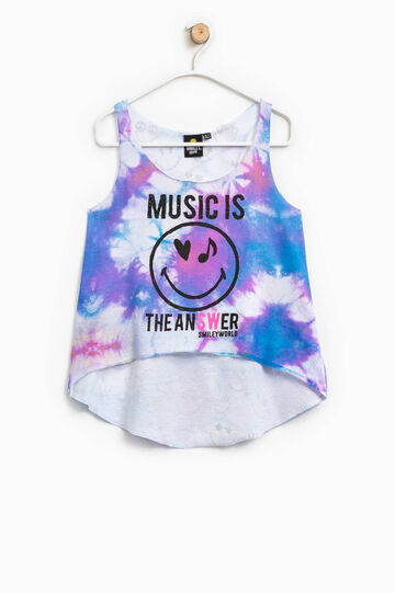 Top crop con stampa Smiley all-over