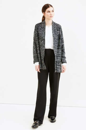 Cardigan tricot mélange con tasche, Bianco/Nero, hi-res