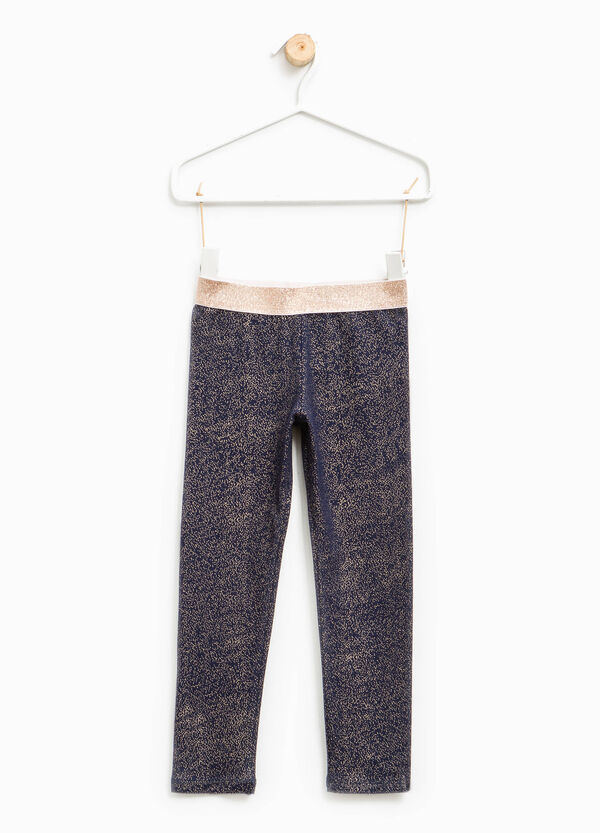 Glitter leggings in stretch cotton | OVS