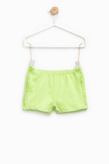 Stretch cotton shorts with flounce, Green, hi-res