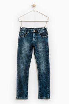 Jeans slim fit stretch effetto used, Blu scuro, hi-res