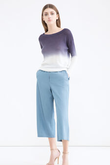 Degradé knit pullover, White/Blue, hi-res