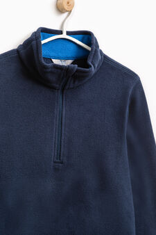 Fleece sweatshirt with high neck, Blue, hi-res