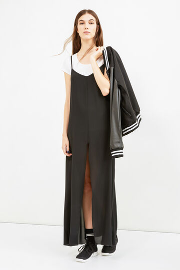 Long wide-fit dress, Black, hi-res