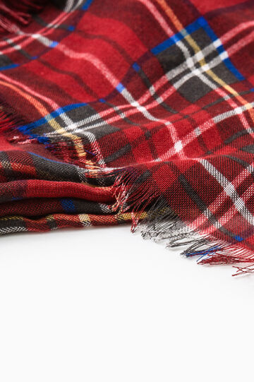 Tartan print scarf, Red, hi-res