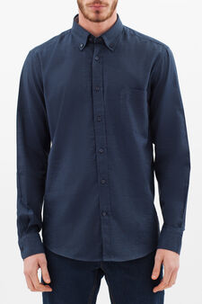 Cotton viyella regular-fit shirt, Blue, hi-res