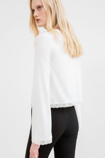 T-shirt crop misto viscosa stretch, Bianco latte, hi-res