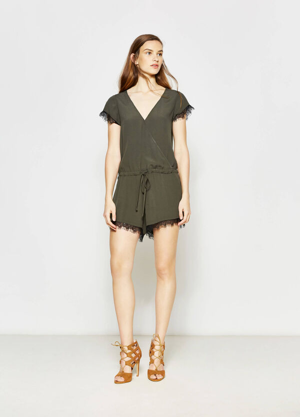 Playsuit with short sleeves and lace | OVS