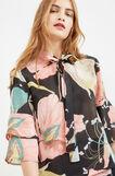 Floral print blouse with flounces, Black, hi-res