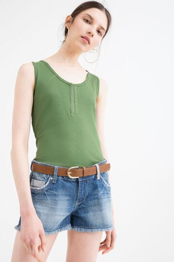 Top puro cotone con gancetti, Verde, hi-res