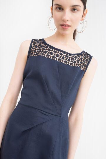 Sleeveless pleated dress., Navy Blue, hi-res