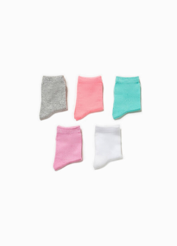Five-pair pack solid colour short socks | OVS