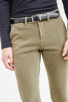 Slim fit, stretch cotton chino trousers, Green, hi-res