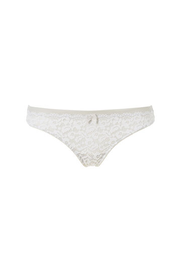 Brazilian cut briefs with lace inserts, Light Grey, hi-res