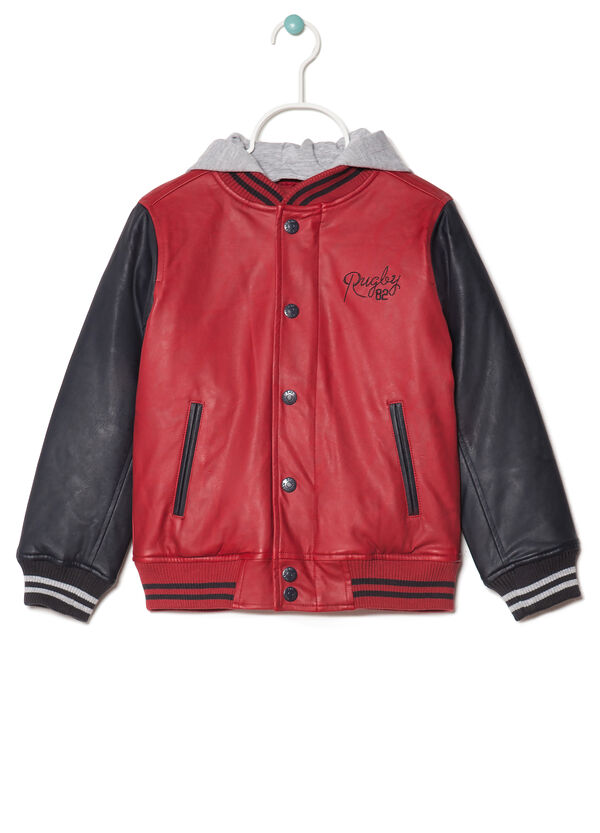 Leather jacket with fleece hood | OVS