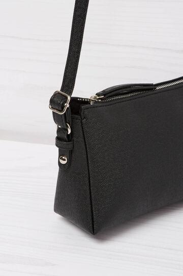 Solid colour, leather look shoulder bag, Black, hi-res