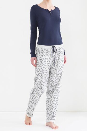 Pantaloni pigiama cotone Curvy, Grigio melange, hi-res