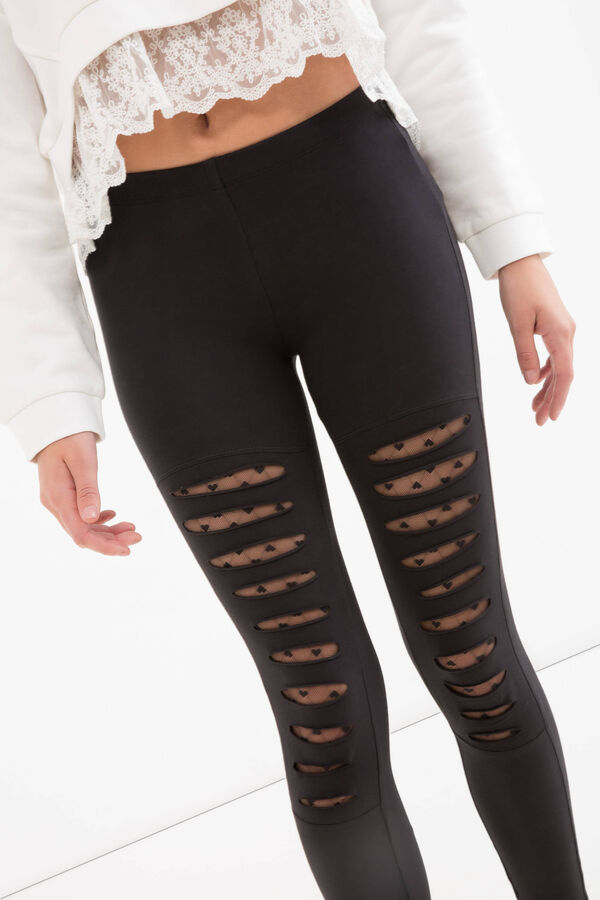 Teen cotton leggings with rips | OVS