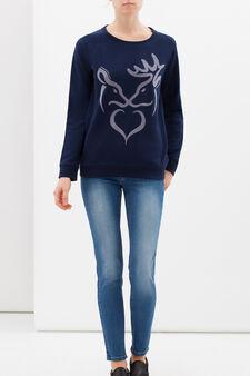 Cotton blend sweatshirt with print, Navy Blue, hi-res