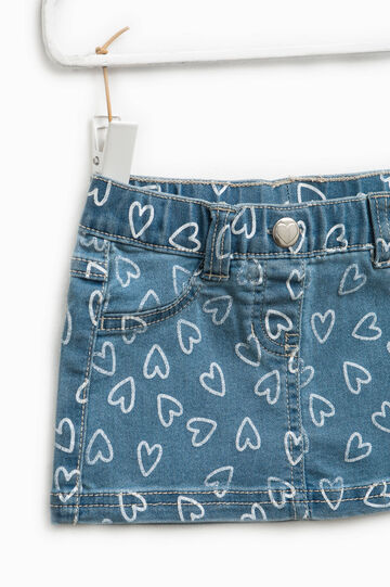 Hearts patterned denim skirt