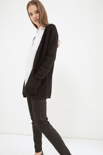 Cotton long cardigan with pockets, Black, hi-res