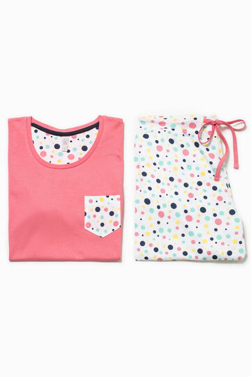 Cotton pyjamas with polka dot pattern