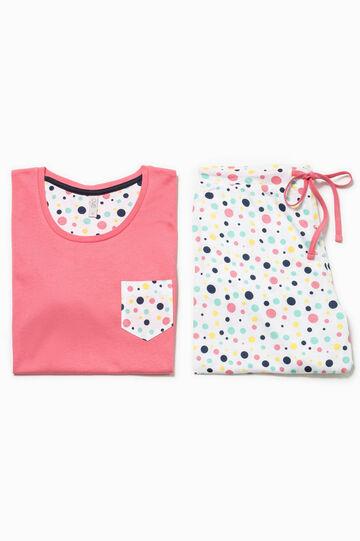 Cotton pyjamas with polka dot pattern, Multicolour, hi-res