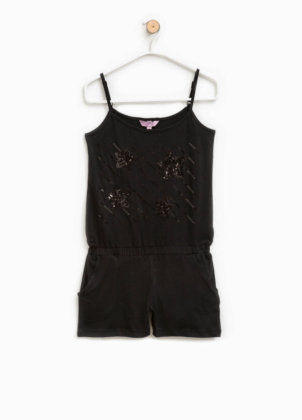 Cotton pinafore with sequins | OVS