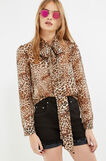 Blouse with bow and animal pattern, Beige, hi-res