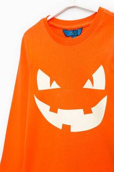 T-shirt stampata in puro cotone, Arancione, hi-res