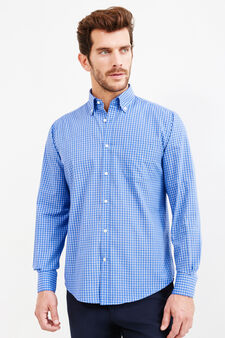 Check regular fit formal shirt, Blue, hi-res