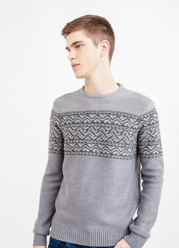 Jacquard pullover with embroidery | OVS