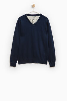 Faux layered pullover in 100% cotton, Navy Blue, hi-res