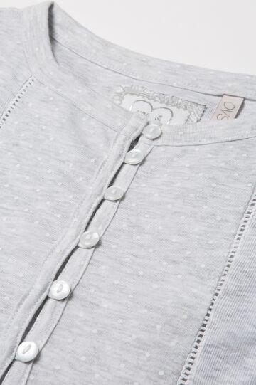Patterned pyjamas in 100% cotton, Grey Marl, hi-res