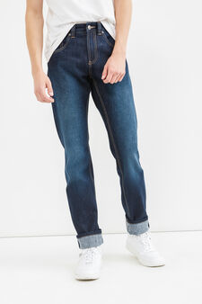Straight-fit faded jeans with turn-ups, Dark Wash, hi-res