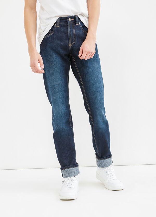 Straight-fit faded jeans with turn-ups | OVS