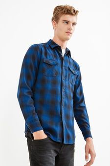Check cotton casual shirt, Black/Blue, hi-res