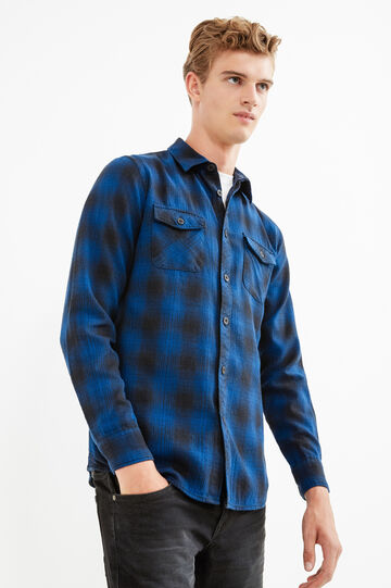 Check cotton casual shirt, Black/Blue, hi-res