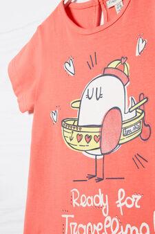 T-shirt stretch stampata, Rosa corallo, hi-res