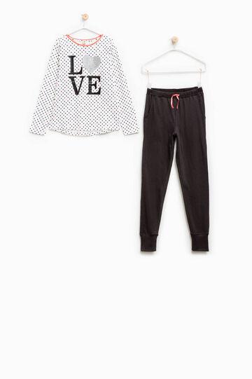 Pijama de algodón con estampado de lunares, Blanco/Gris, hi-res