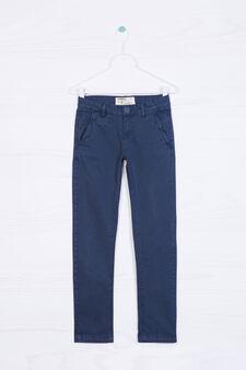 Pantaloni chino in cotone stretch, Blu navy, hi-res