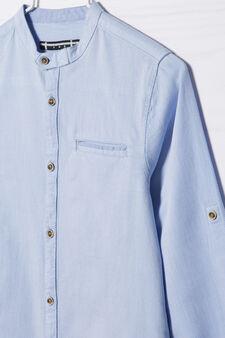 Camicia cotone colletto alla coreana, Azzurro, hi-res