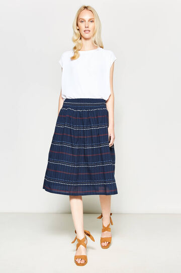 Striped longuette skirt with embroidery, Navy Blue, hi-res