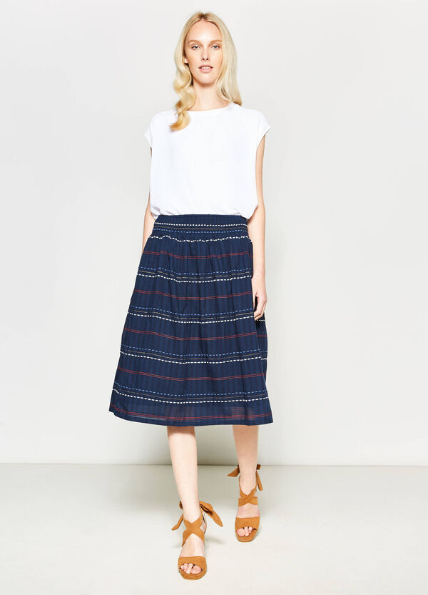 Striped longuette skirt with embroidery   OVS