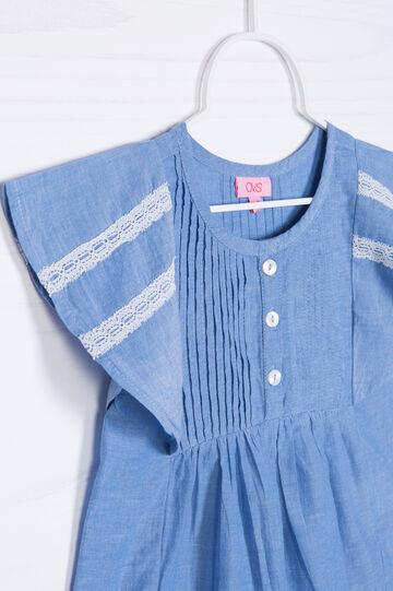 Camicetta in cotone ampie maniche, Azzurro, hi-res