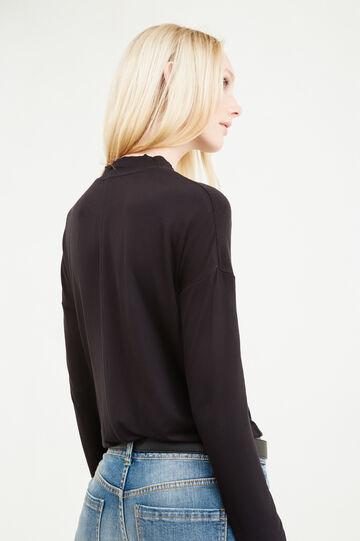 T-shirt viscosa stretch tinta unita, Nero, hi-res