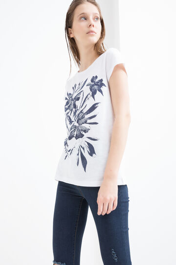 100% cotton T-shirt with floral print, White, hi-res