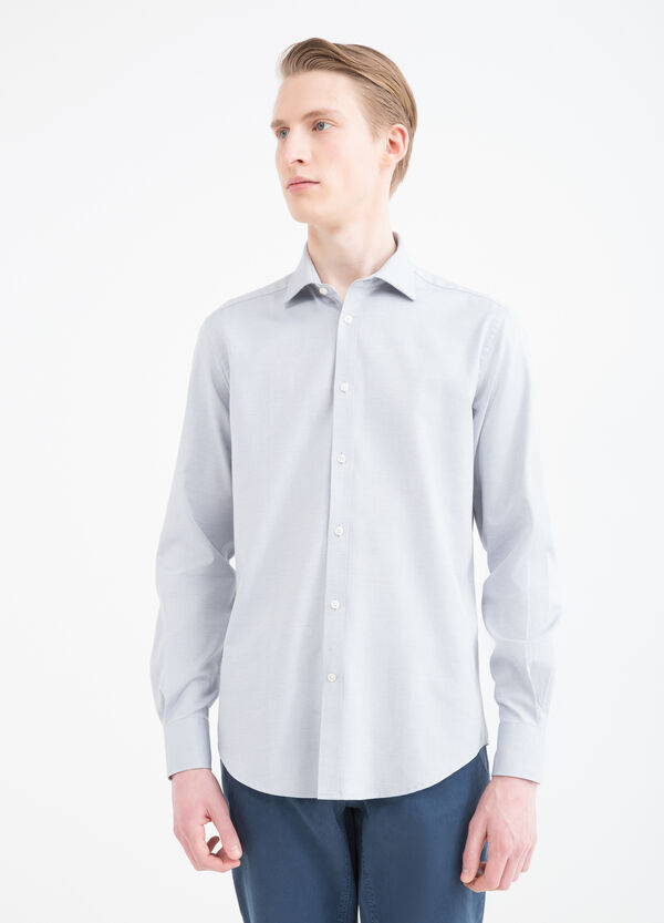 Slim-fit patterned cotton shirt | OVS